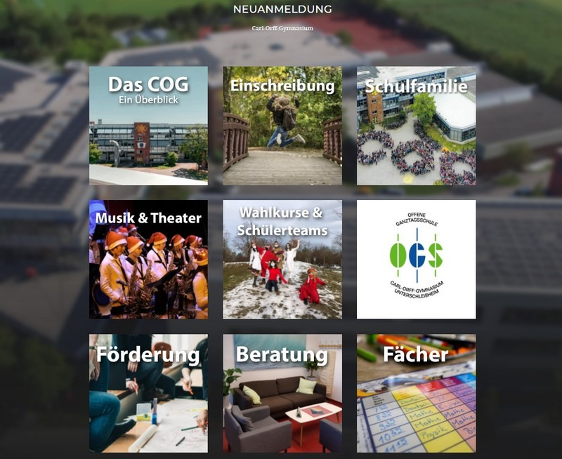 Website Neuanmeldung am COG